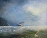 Steamship in heavy weather off the coast 16in x 20in